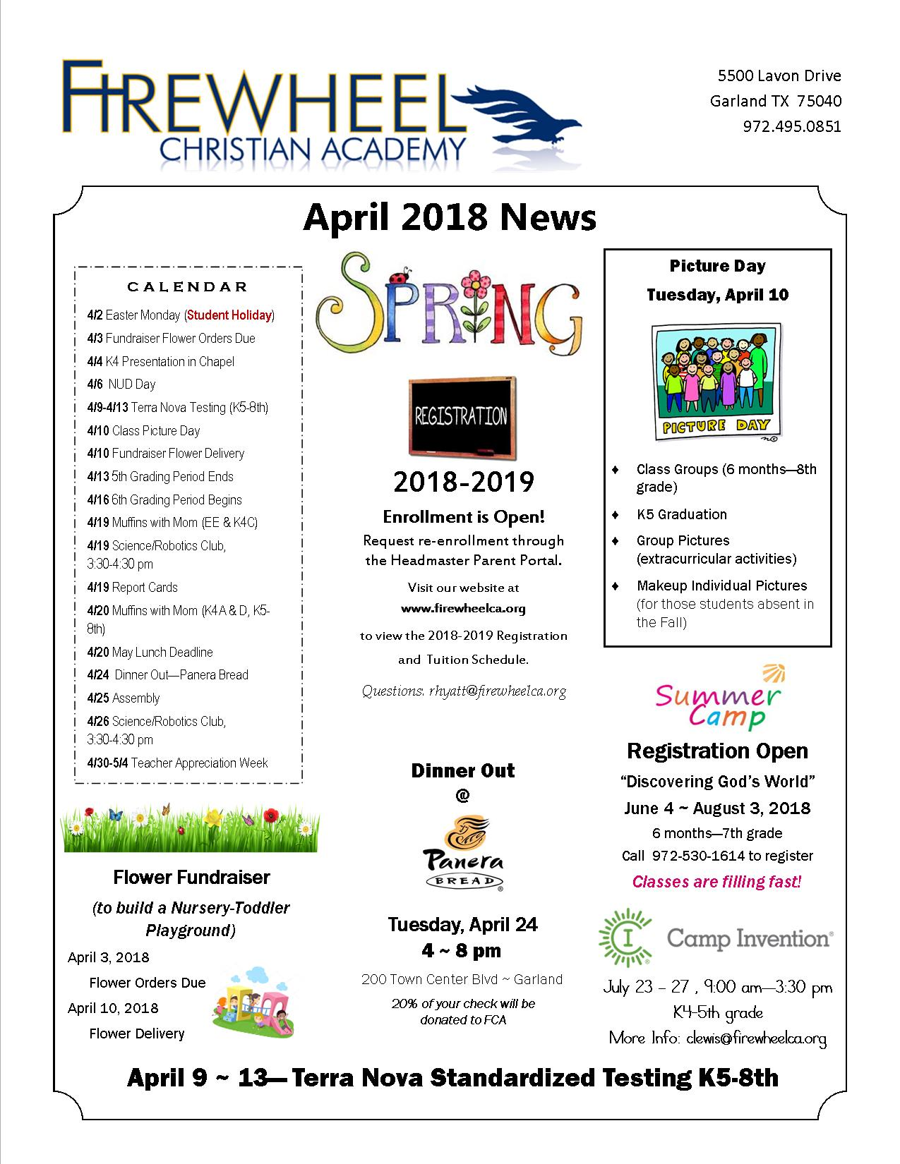 2018 April Newsletter page 1